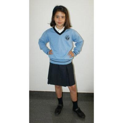 Suéter de pico punto liso. Escuelas San José. Ruisell Uniformes Escolares