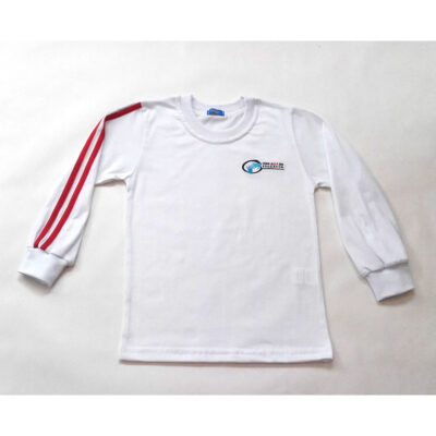 Camiseta de manga larga blanca. Colegios ACI. Uniformes Escolares.