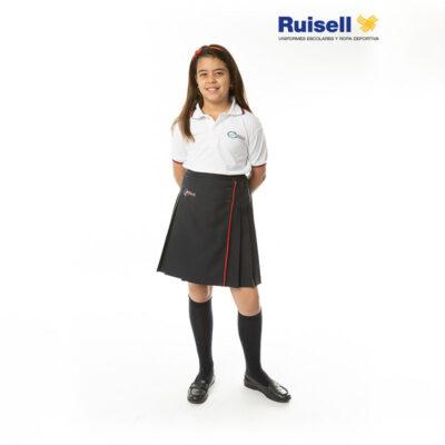 Falda plisada con tabla delante. Colegios ACI. Uniformes Escolares.