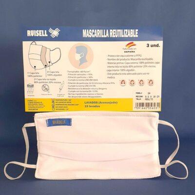 Mascarilla reutilizable fabricada en España. Pack de tres unidades.