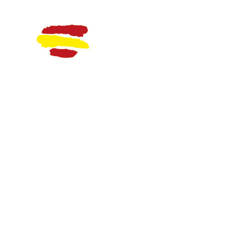 Mascarilla reutilizable con diseño bandera de España fondo blanco. Fabricada en España.